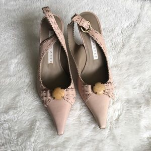 New Pura Lopez Leather Sling Back Point Shoes 36